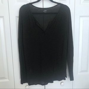 LOFT striped Long Sleeve Top Size Large